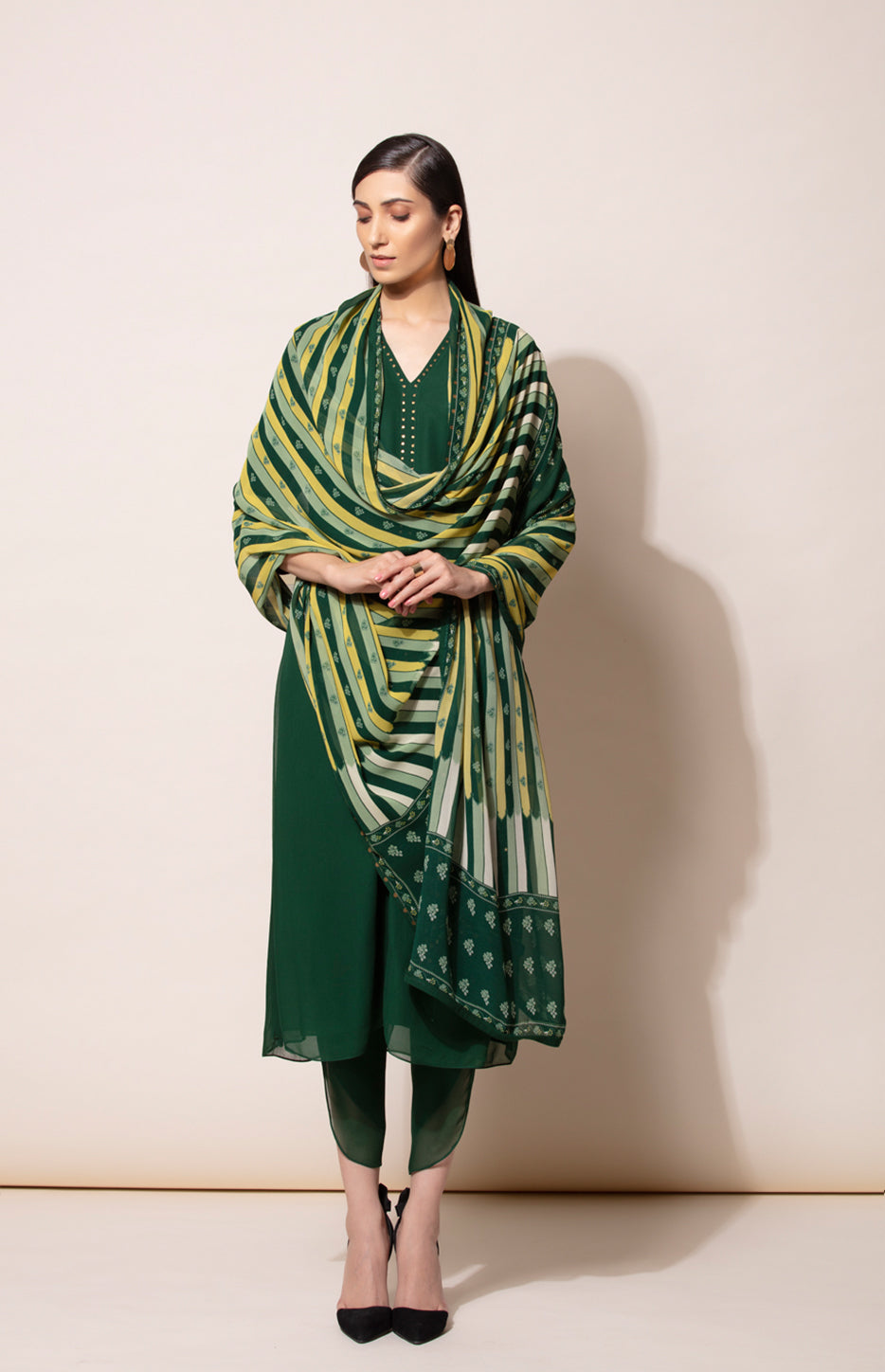 Bottle Green Tunic dhoti and Dupatta set