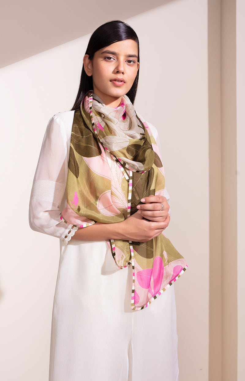 Khaki Digital Printed Scarf