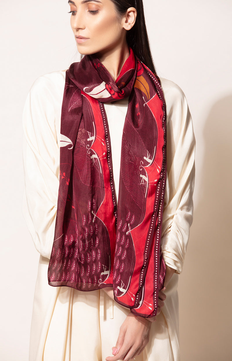 Burgundy Silk Scarf