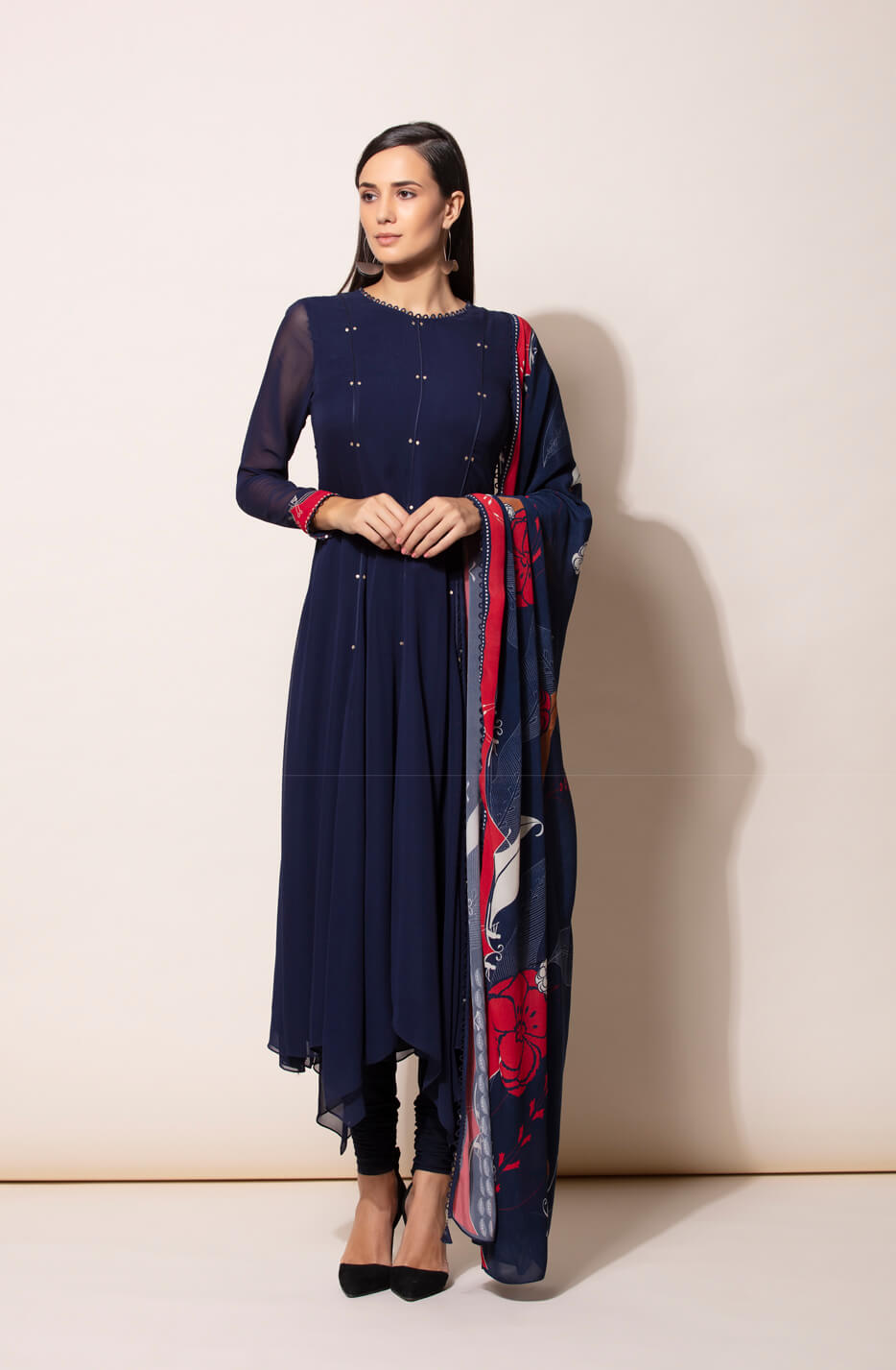 Navy Anarkali set with Tights and Dupatta