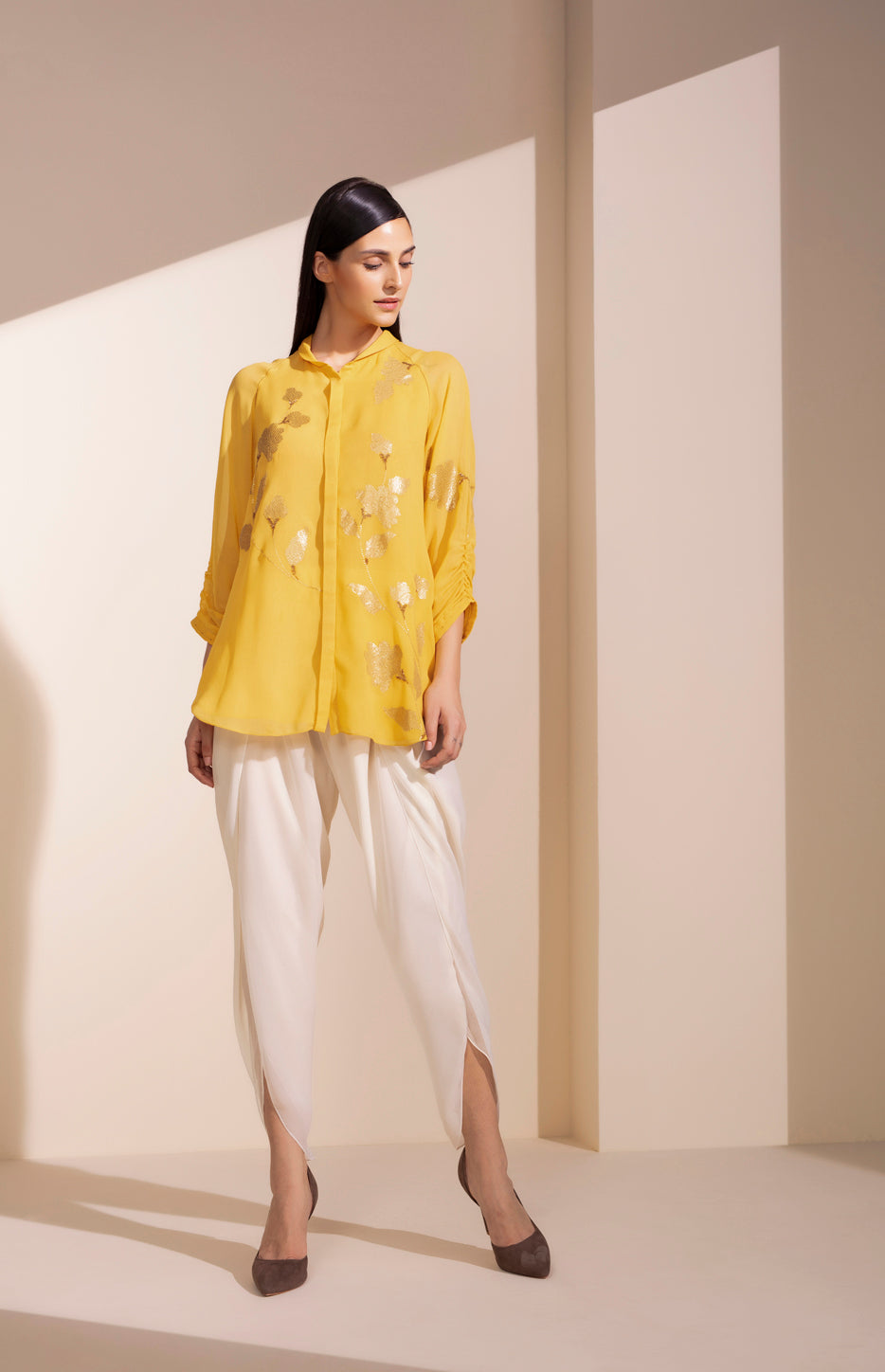 Mustard Shirt In Georgette