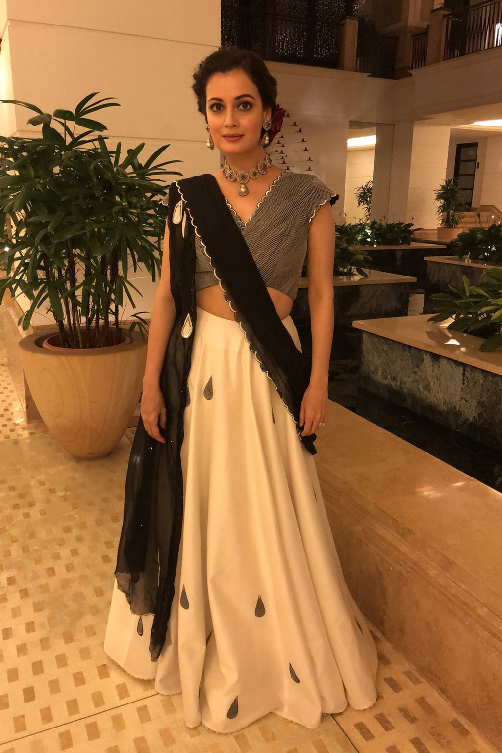 Diya Mirza In Ivory Black Embroidered Lehenga  - 3023
