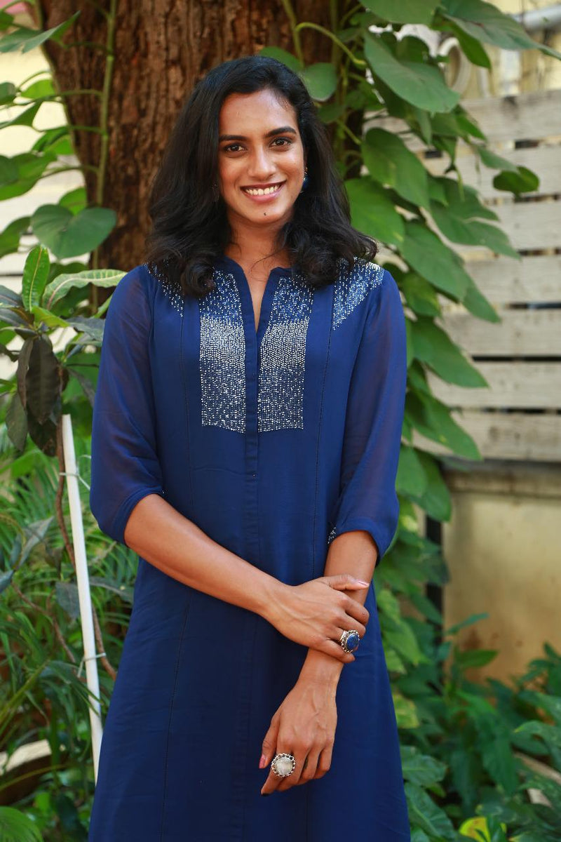 PV Sindhu wearing Indigo Tunic in Georgette