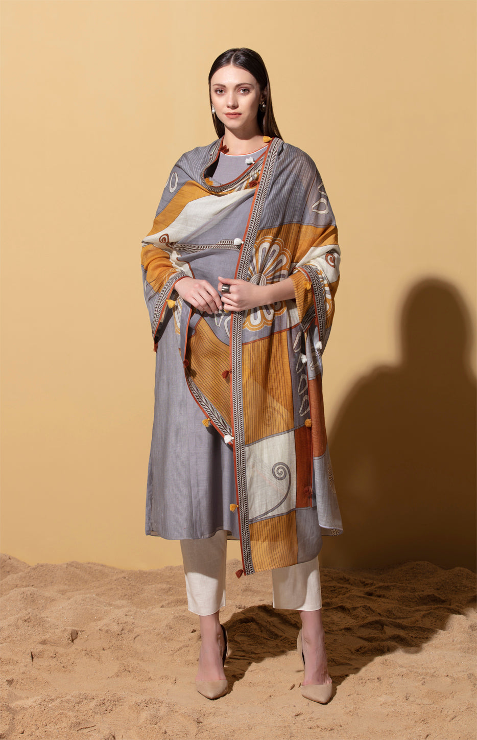 Amara Steel Grey Pintuck Suit in Chanderi
