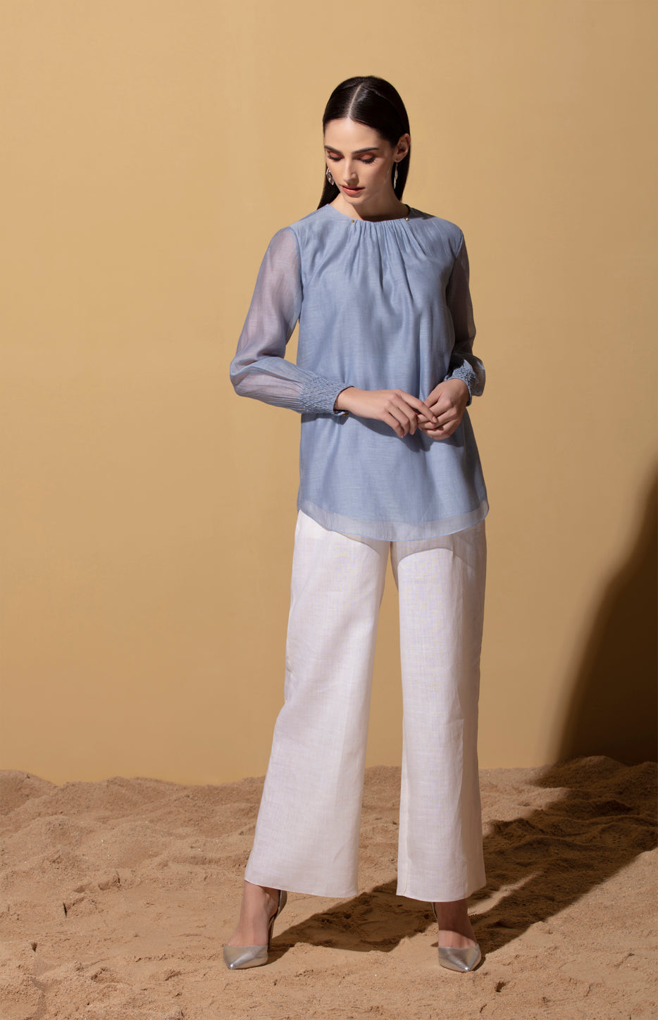 Uwazi Stone Blue Top in Thin Chanderi