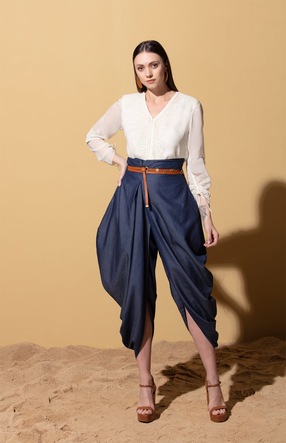 Indigo Dhoti Pants in Denim with Belt