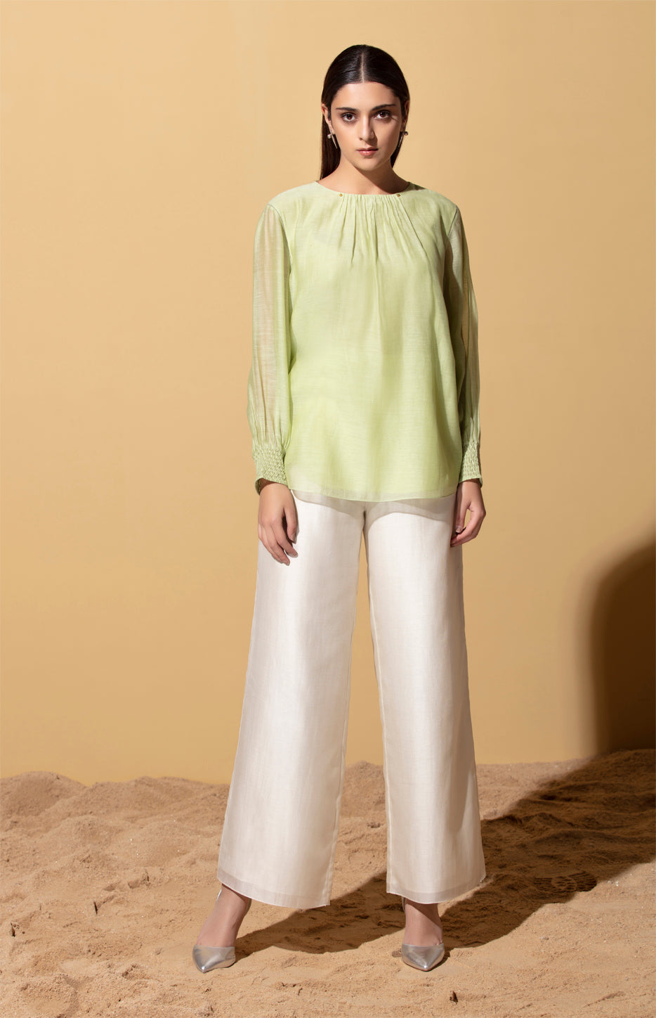 Uwazi Mint Top in Thin Chanderi