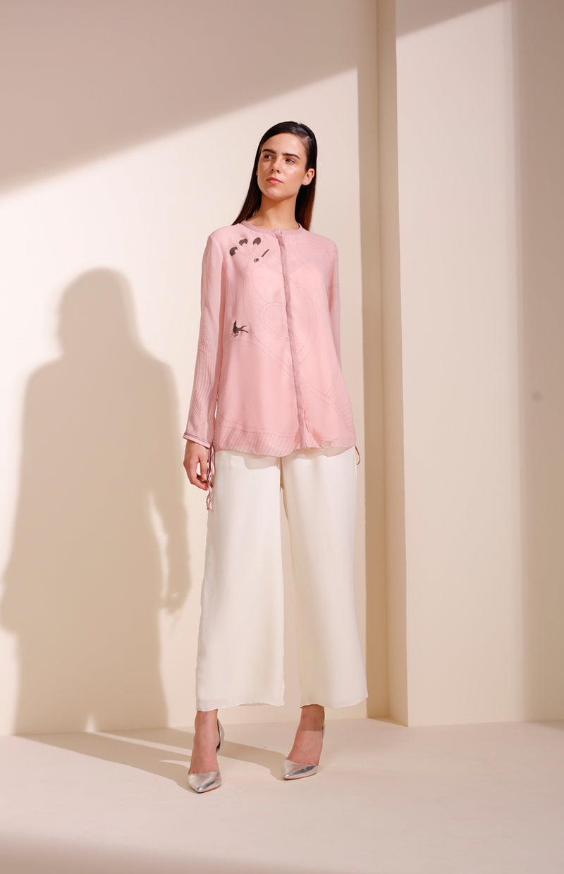 Light Pink Shirt In Georgette With Bird