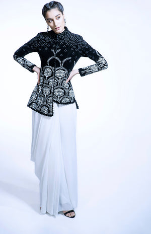 Black Embroidered Jacket and Ivory Saree- 2305