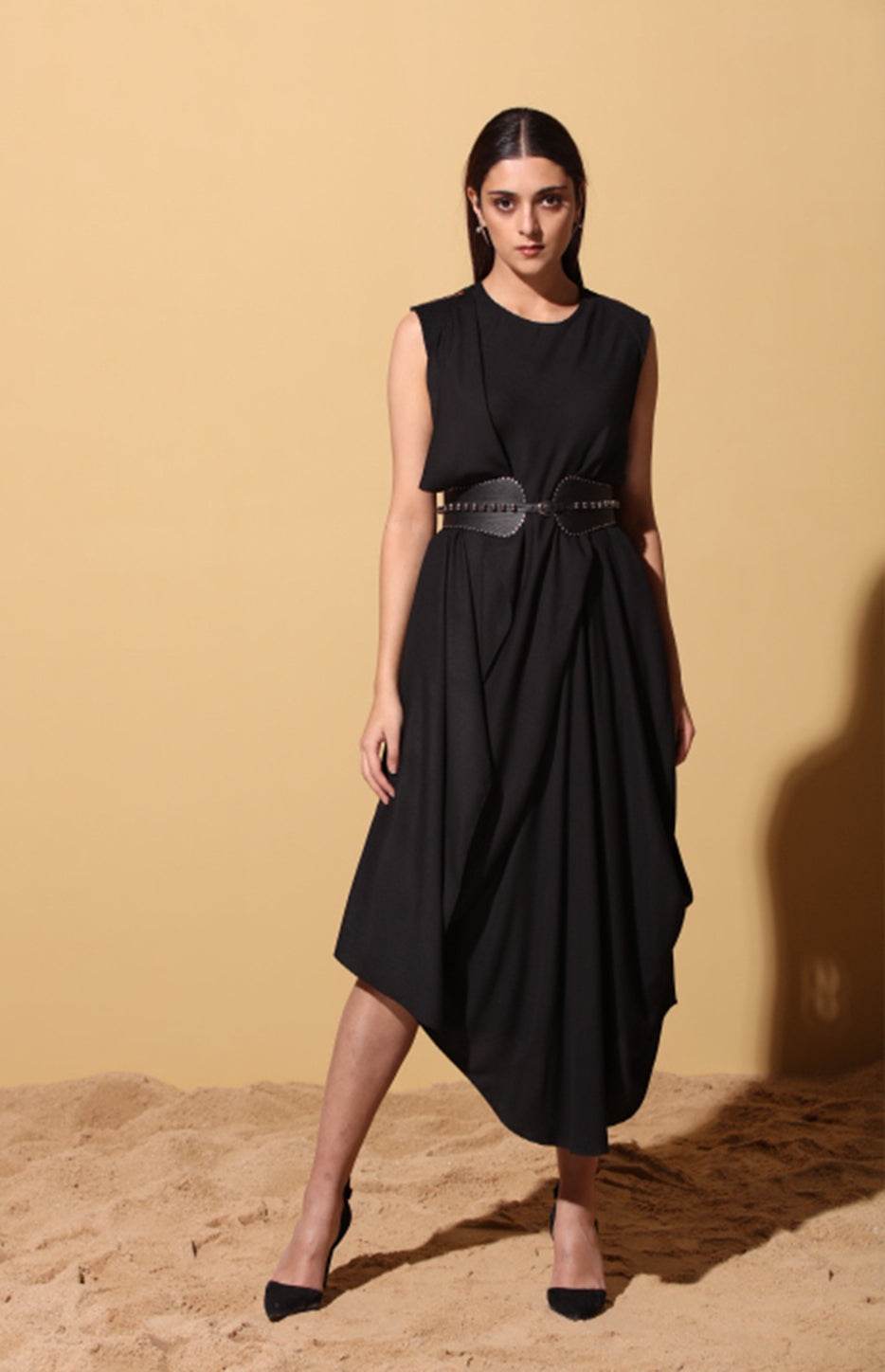 Nzuri Black draped Dress in Twill