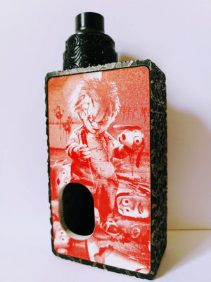 Porte gravée BF mod - Engraved BF Mod Panel - Chucky red and white