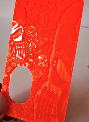 Porte gravée BF mod - Engraved BF Mod Panel - Orange SvF Half Skulls