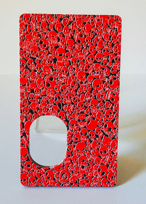 Porte gravée SvF V4 mod - Engraved BF Mod Panel - Little Skulls Red Matte
