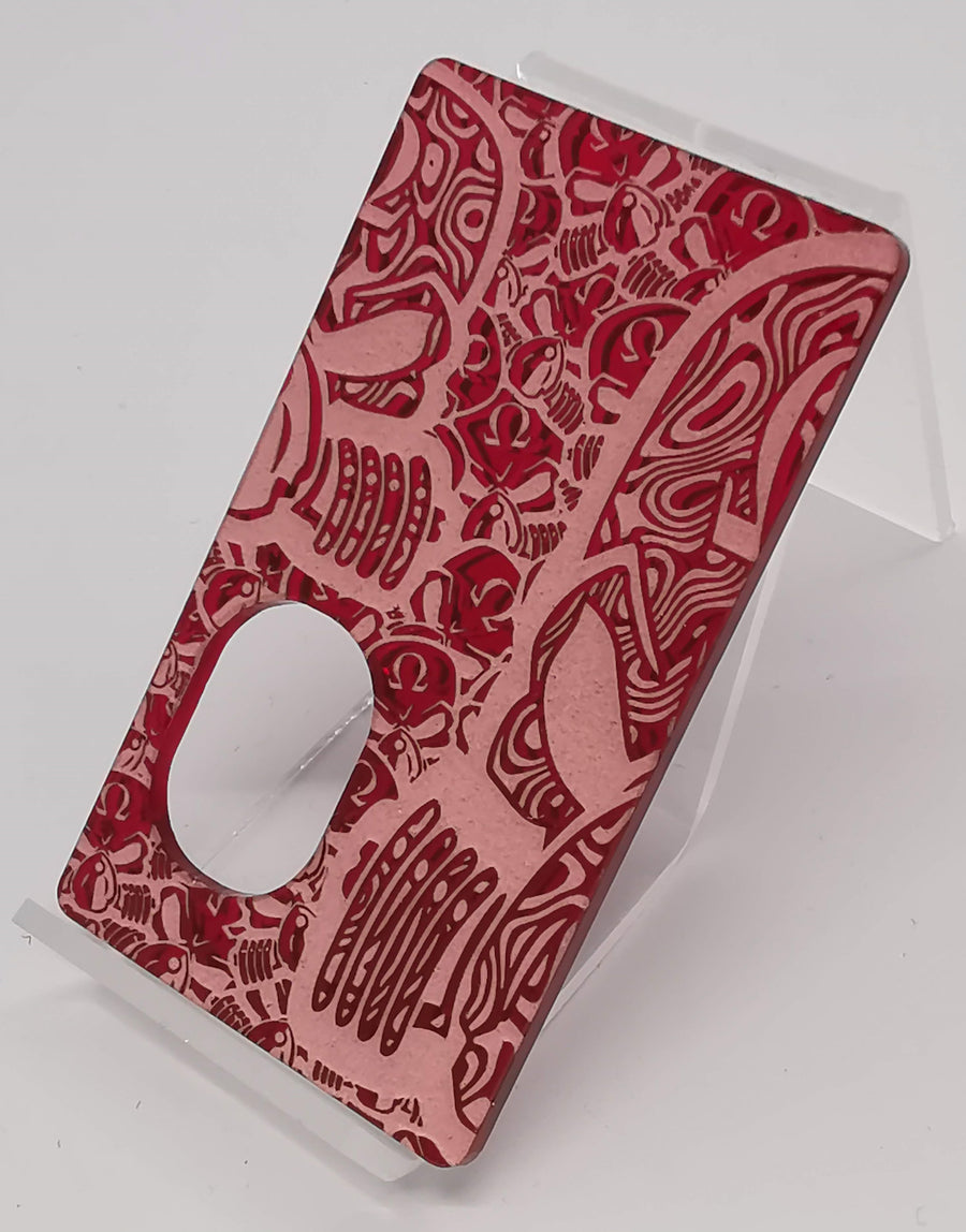 Porte gravée BF mod - Engraved BF Mod Panel -  Mirror Red