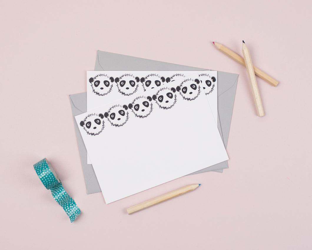 Panda writing notecards for kids