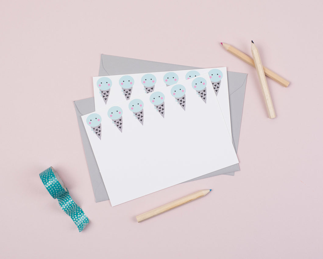Ice cream writing notecards for kids