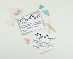 Zebra Party thank you card