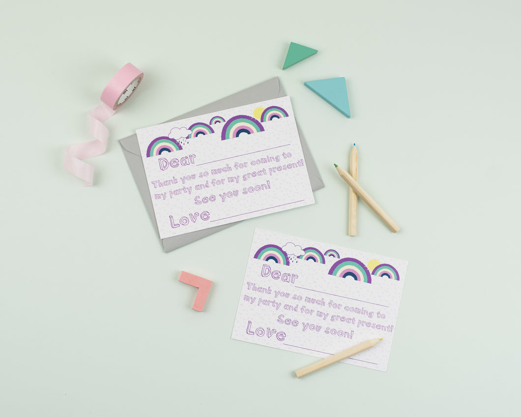 Rainbow Party thank you card