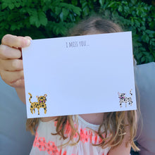 'I miss you' Leopard notecards