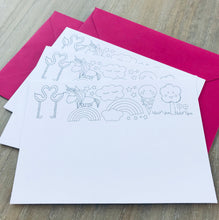 Unicorn and friends colouring in notecards