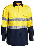 Bisley 3M Taped Two Tone Hi Vis Cool Lightweight Mens Shirt - Long Sleeve
