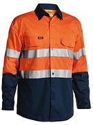 Bisley 3M Taped Two Tone Hi Vis Lightweight Mens Shirt - Long Sleeve