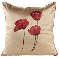 POPPIES CREAM CUSHION COVER 18INCH