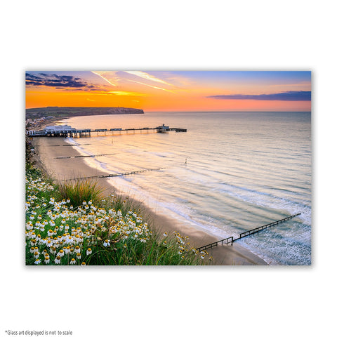 SMALL RECTANGLE GLASS ART - SANDOWN AT DAWN