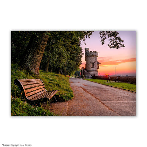 SMALL RECTANGLE GLASS ART - APPLEY TOWER SUNSET