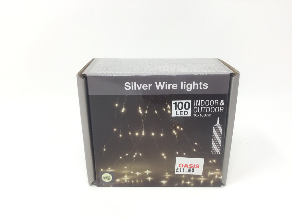 SILVER WIRE 100LED WARM WHITE WITH PLUG