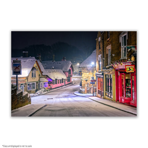SMALL RECTANGLE GLASS ART - SHANKLIN OLD VILLAGE IN THE SNOW
