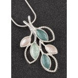 299542 EQ SAGE TONES PRETTY LEAVES NECKLACE
