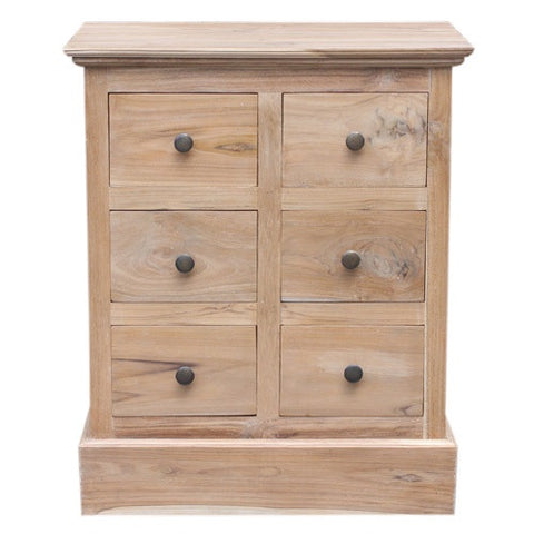 6 SMALL DRAWER CABINET - WHITE WASH