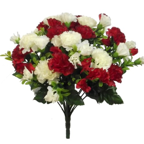 MINI CARNATION BUSH IVORY/RED