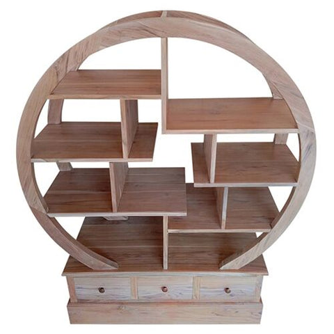 SMALL ROUND BOOKCASE W/W 3 DRAWERS