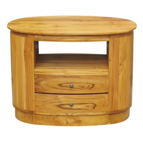 OVAL 1SHELF 2DRAWER SLIM TEAK