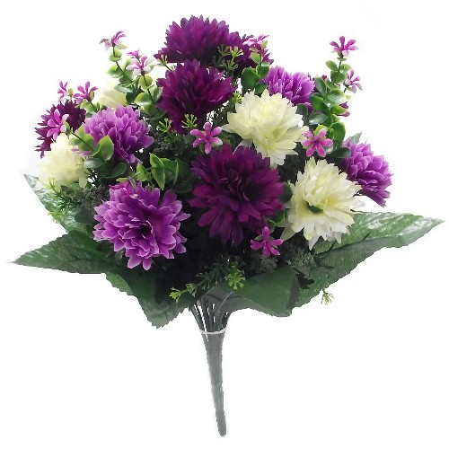 SPIKY MUM BUSH LARGE LILAC/PURP/IVORY