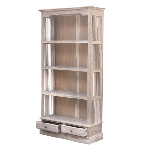 LARGE BARRED BOOKCASE WHITE WASH