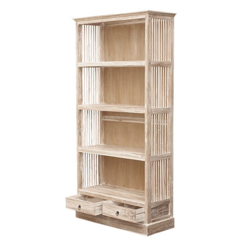 LARGE BARRED BOOKCASE - RUSTIC WHITE WASH