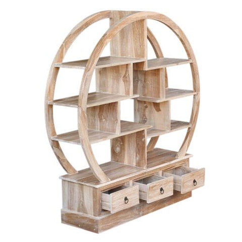 RWW SMALL ROUND BOOKCASE 3 DRAWERS