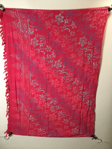 PINK, PURPLE, BLUE FLOWERS - SARONG WITH BUCKLE