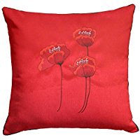 POPPIES RED CUSHION COVER 18INCH