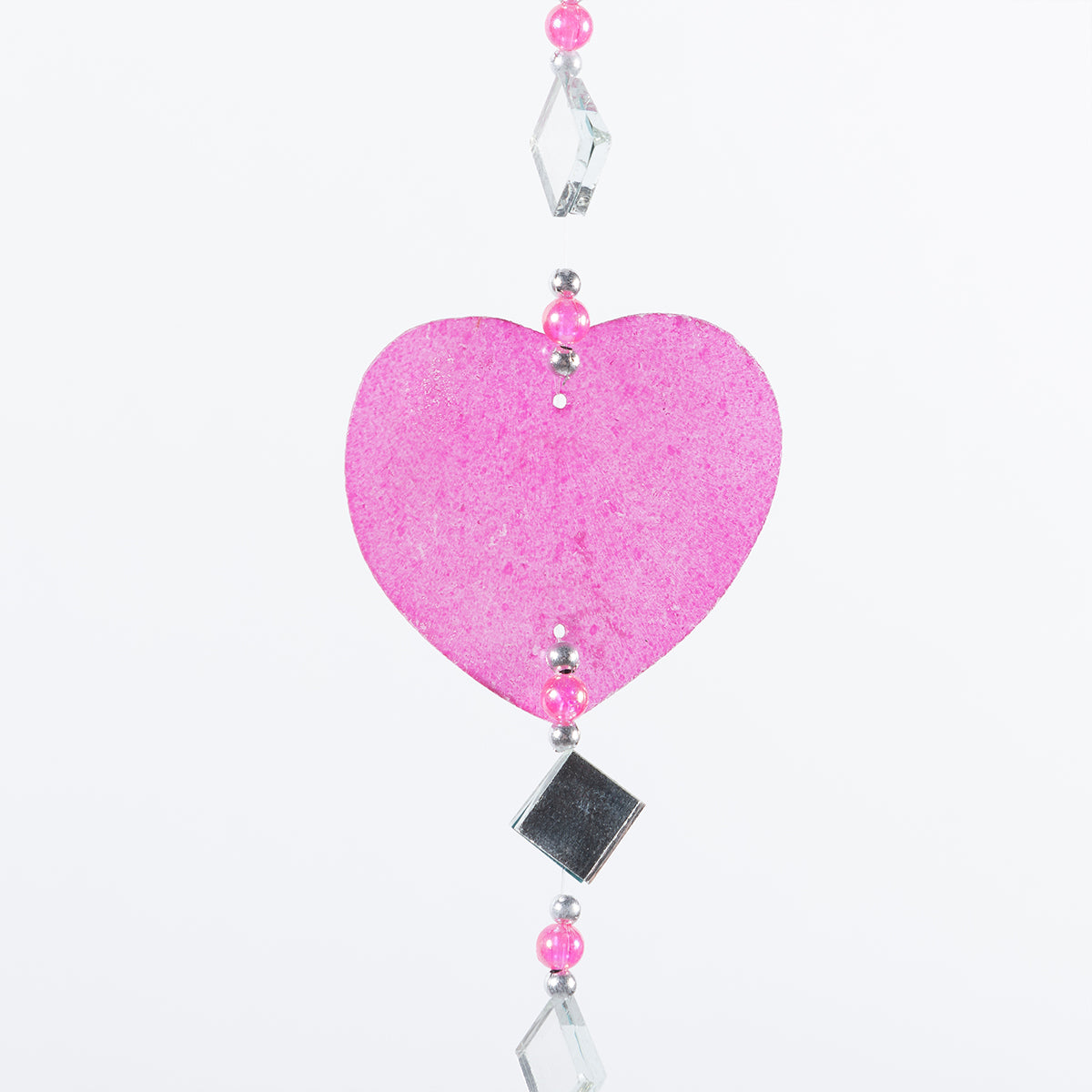 CAPIZ SHELL HANGER WITH MIRROR PINK HEART