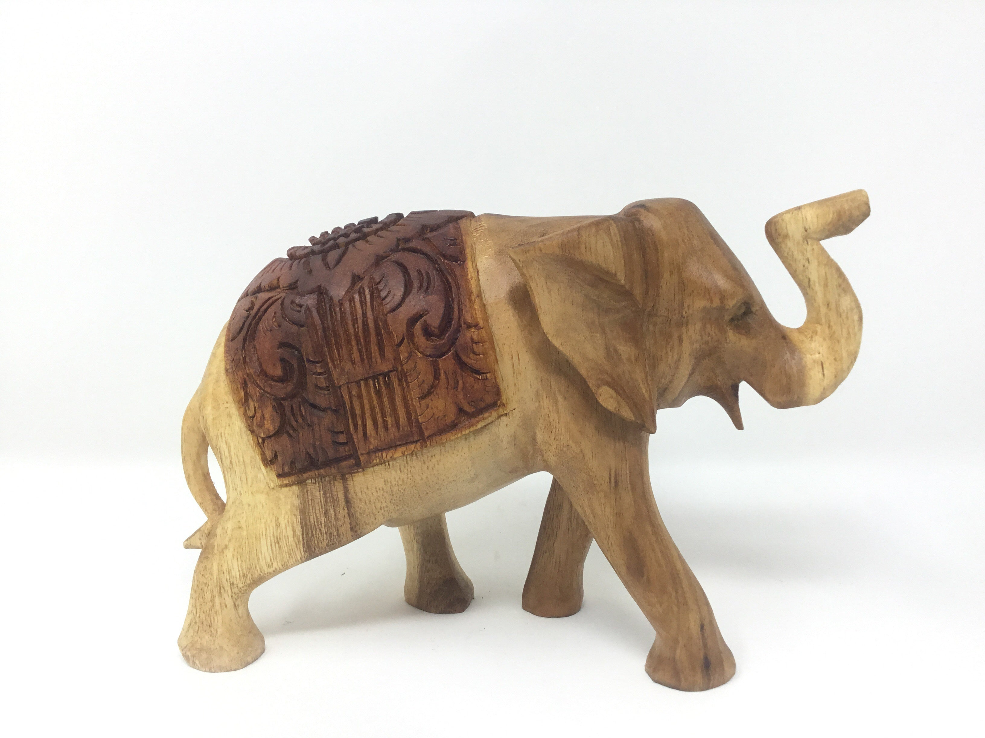 2TONE ELEPHANT CARVED BACK 15CM