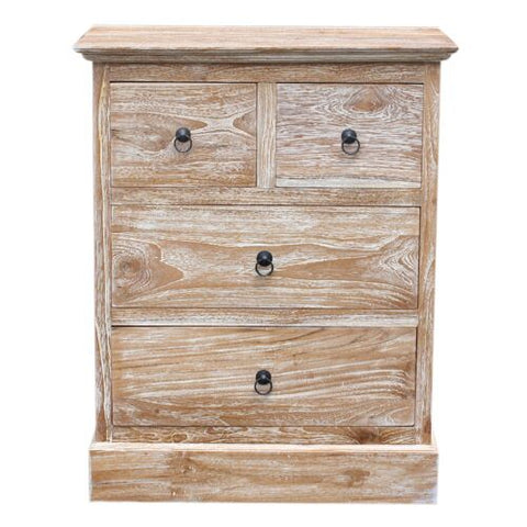 2 SMALL+2 LONG DRAWERS CHEST - RUSTIC WHITE WASH