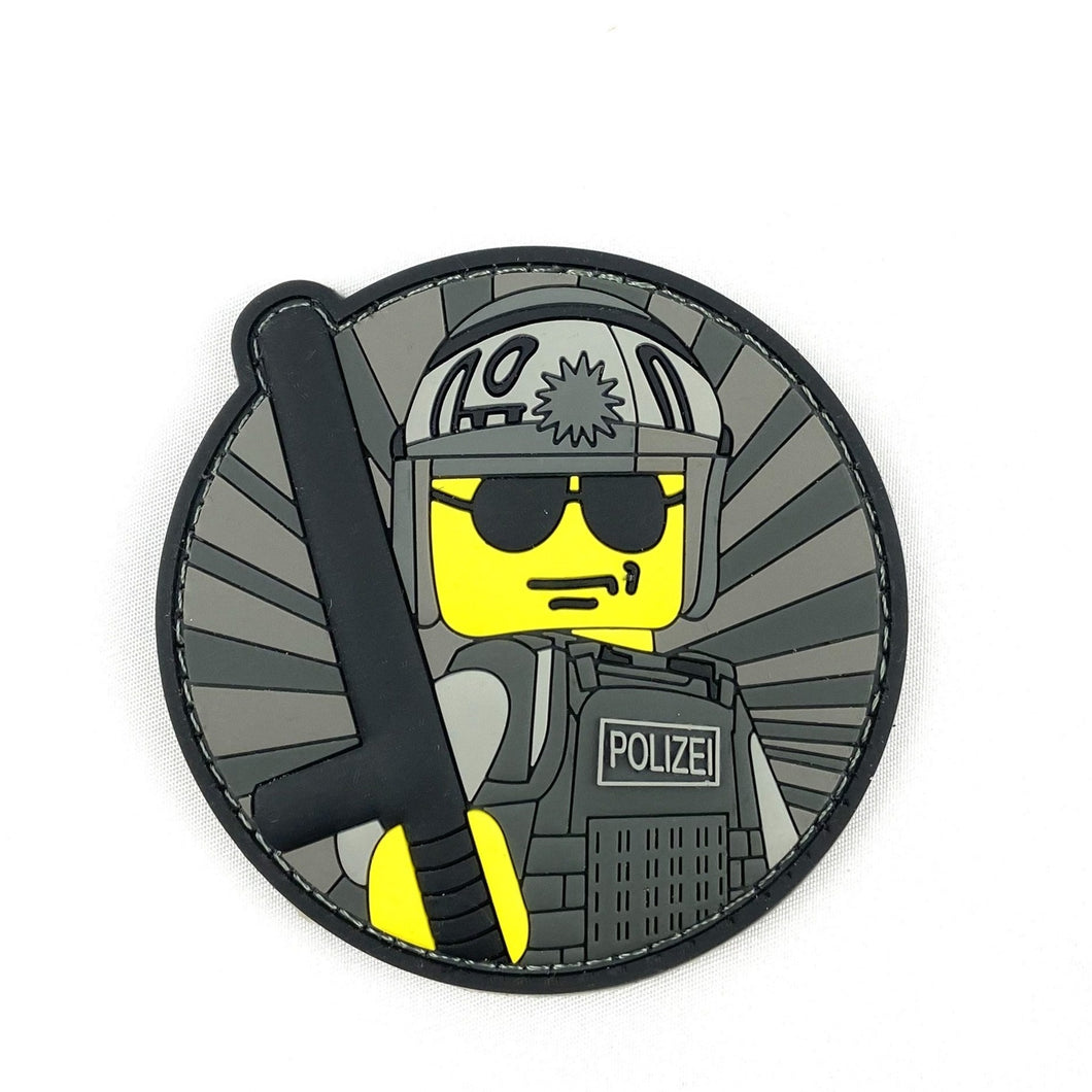 Yellow Police Guy Rubber Patch - Polizeimemesshop