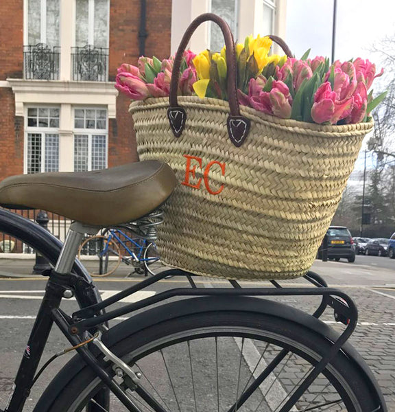 Market basket on back for bicycle in London