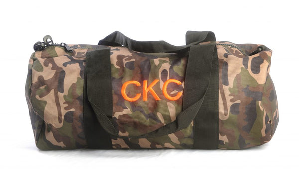 Camo duffle bag with monogram