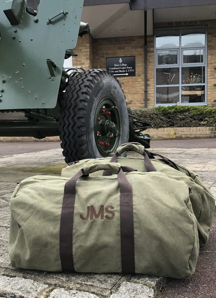 Military duffle with monogram