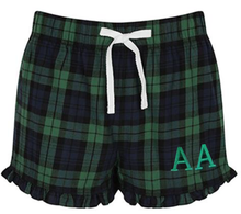 Flannel Shorts with Frilly Hem